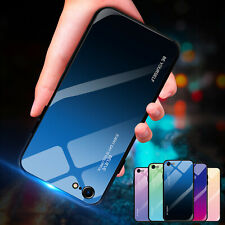 For iPhone XR Case XS Max 7 8 6 Luxury Gradient Tempered Glass Back Hybrid Cover