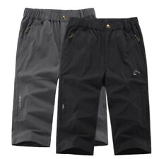 Mens Casual Quick Dry Hiking Short Pants Below Knee Hot Summer Walking Trousers