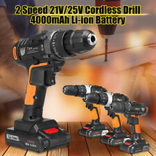 "3/8"" 21V/25V 2-Speed Keyless Cordless Impact Drill Driver Screwdriver 3IN1Li-Ion"