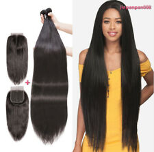 3 Bundles with Closure 100% Unprocessed Brazilian Virgin Human Hair