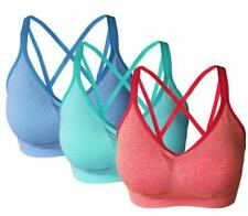 Akamc Women'S Removable Padded Sports Bras Medium Support Workout Yoga Bra 3 Pac