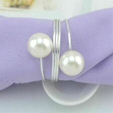 Elegant 12 Wedding Napkin Rings Hollow Floral Pearl Metal Napkin Buckle Holder C