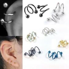 2pcs Punk Stainless Steel Spiral Helix Ear Stud Lip Nose Body Piercing Jewelry