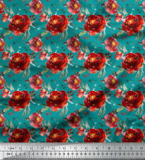 Soimoi Fabric Leaves & Peony Floral Printed Craft Fabric by the Yard - FL-703D