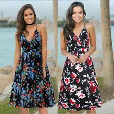 Floral Boho Beach Dress Maxi Halter Sundress Long Party Sleeveless Women Belted