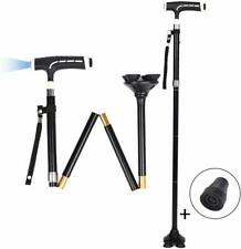 Folding Walking Cane with LED Light,Easy Adjustable, Portable and Stable Travel