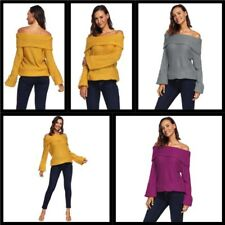 Tops Casual Pullover Off Shoulder Women's Sweater Blouse Knitted Knit Shirt