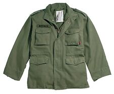 OLIVE DRAB VINTAGE M-65 JACKET - WASHED 100% COTTON OUTER SHELL & LINING