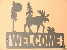 MOOSE WELCOME SIGN HOME DECOR PLAQUE CABIN WILDERNESS