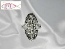 Large Sterling Silver Clear Cz & Marcasite Cluster Ring