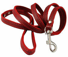 """Genuine Leather Dog Leash 4 ft long, 1/2"""" wide Yorkshire Terrier Puppies, Poodle"""