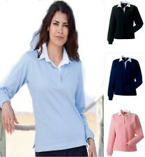 Jerzees Russell Ladies Womens Plain PINK or BLUE Long Sleeve Rugby Shirt