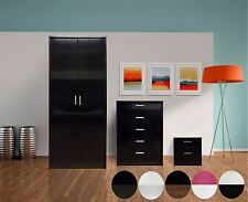3 Piece Trio High Gloss Bedroom Furniture Set Wardrobe Chest Bedside 5 Colours