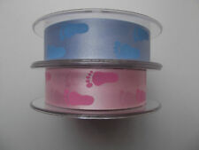 QUALITY RIBBON 24MM PINK OR BLUE BABY FEET CHRISTENING, BABY SHOWER, CAKE, CRAFT