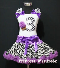 Baby Purple Zebra Pettiskirt 3rd Birthday Cupcake Set