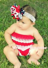 Xmas NewBorn Baby Red White Lace Ruffles Romper NB-3Y