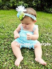 Newborn Baby Sky Blue Lace Petti Romper with Shoulder Straps For NB-3Year