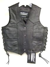 Mossi Womens Black Leather Side Lace Motorcycle Vest