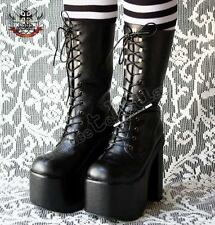 "Gothic Goth Visual Kei Punk Fetish 6"" Platform Calf LaceUp Vegan Leather Boot"