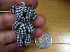 "Unique Tiny Small Miniature Jointed Black Gingham Bear 4.5cm/1.5"" Tall UK Seller"