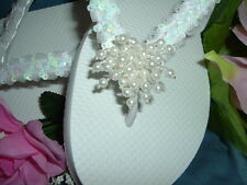 "Wedding Shoes FLIP FLOPS  "" Demi "" Sequins Pearl Clusters"