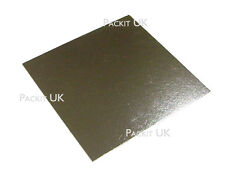 "Square Silver Cake Boards Cards 8 10 & 12"" Inch Weddings Birthdays"