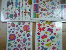 LARGE SHEET GIRLS TEMPORARY TATTOOS CHINESE WORDS LADYBIRDS  FISH HEARTS PARTIES