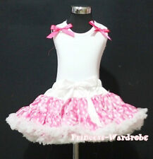Light Pink White Polka Dot Pettiskirt White Pettitop Top in Ruffles Bow Set 1-8Y