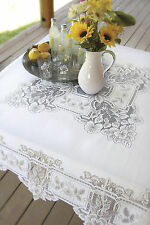 "Heritage Lace Heirloom Tablecloth 58"" x 58"" Square - Colors: Ecru and White"
