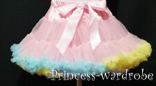 Light Pink Rainbow FULL Pettiskirt Skirt Petti Party Dance Tutu Dress Girl 1-8Y