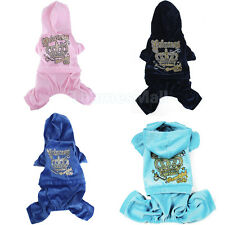 Casual Sport Pet Dog Coat Jacket Velour Hoodie Hooded Jumpsuit Princess Outfit