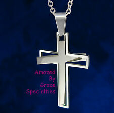 """Two Piece """"Puzzle"""" Cross in STAINLESS STEEL - Leather Cord or Stainless Chain!"""