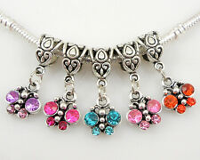 20pcs Cute Butterfly Dangle Charm Inlay Crystal Fit Bracelet Choose Colours AS33