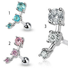 "Triple Gem CZ Droplet Tragus Cartilage Piercing Earring Stud 16 gauge 1/4"" A71"