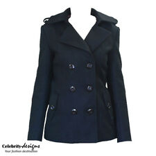 wc8 CFLB Womens Double Breasted Black Ladies Winter Wool Coat Jacket 10 12 14
