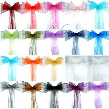 150PCS Organza Chair Sashes Bow Wedding Cover Banquet Sheer Organza Fabric Decor