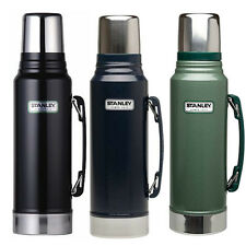 STANLEY CLASSIC DRINKS FLASK 1 LITRE STAINLESS STEEL BLACK GREEN 1L NEW THERMOS