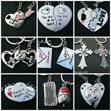 LOVERS SET OF 2 KEYRINGS GIFT BOXED I LOVE YOU FOREVER JIGSAW HEART & KEY CUPID