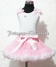 Pink White Pettiskirt Skirt White Pettitop Top Pink Ruffle Various Bow Set 1-8Y
