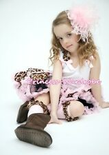 Light Pink Giraffe Pettiskirt with White Pettitop Top in Ruffles Bows Set 1-8Y