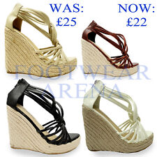 Ladies Open Toe Ankle Strappy Straw Wedge Platform Sandals Size UK 3 4 5 6 7 8