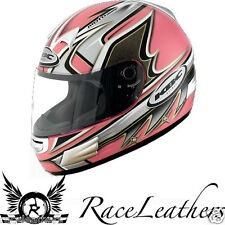 KBC SLICK PINK - ACU GOLD LADIES MOTORCYCLE MOTORBIKE BIKE KART SCOOTER HELMET
