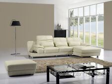 Contemporary modern design leather sectional sofa chaise ottoman set home couch