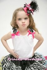 White Pettitop Tank Top with Rainbow Dots Ruffle Optional Bow 4 Pettiskirt NB-8Y
