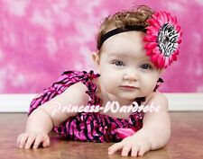 NewBorn Baby Hot Pink Zebra Ruffles ONE PIECE Petti Romper Jumpsuit Girl NB-3Y