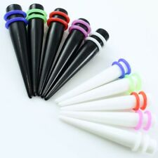 18 or 9 Pc Ear Taper Kit 14G-00G Gauges Expander Set Acrylic COLORED O-rings