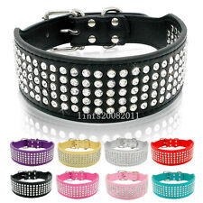 2inch Wide 5 Rows Full Diamante Rhinestone Cute Softer Leather Pet Dog Collars