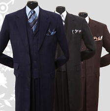 "Men's Milano Moda Fashionable 42"" Long Suit Navy / Black / Brown  Sty-906"