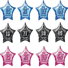 "13th-100th 20"" star aged foil birthday party balloon helium/air quality 3 colour"