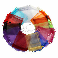 "100PCS 3x3.5"" 7cmx9cm Sheer Organza Wedding Xmas Gift Bag Pouch Favor Colours"